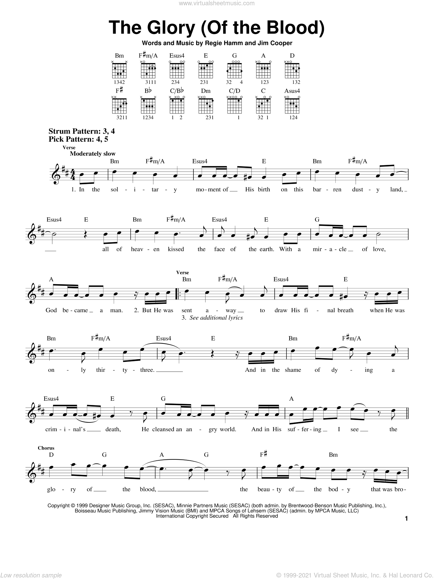 The Glory (Of The Blood) sheet music for guitar solo (chords) by Regie Hamm and Jim Cooper. Score Image Preview.