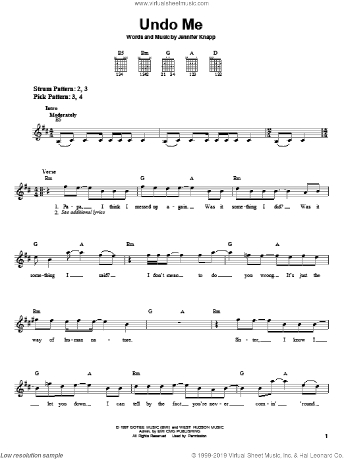 Undo Me sheet music for guitar solo (chords) by Jennifer Knapp, easy guitar (chords)