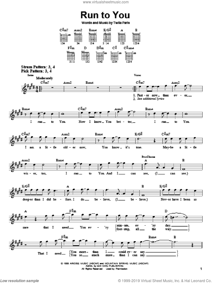 Run To You sheet music for guitar solo (chords) by Twila Paris, easy guitar (chords). Score Image Preview.