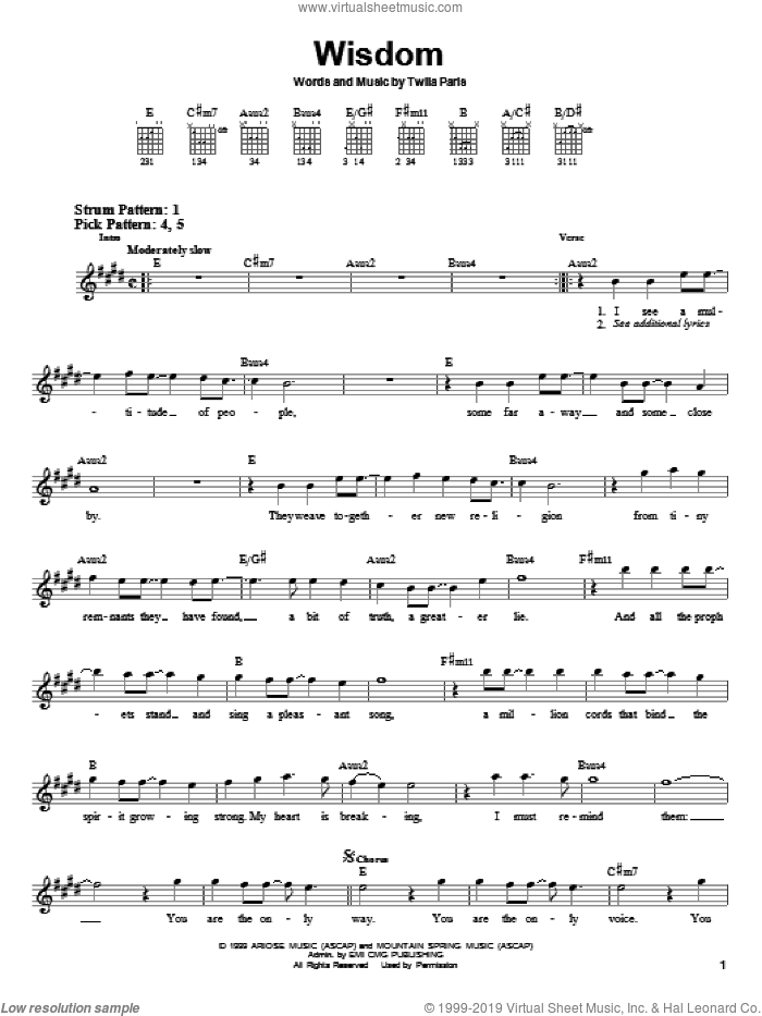 Wisdom sheet music for guitar solo (chords) by Twila Paris. Score Image Preview.