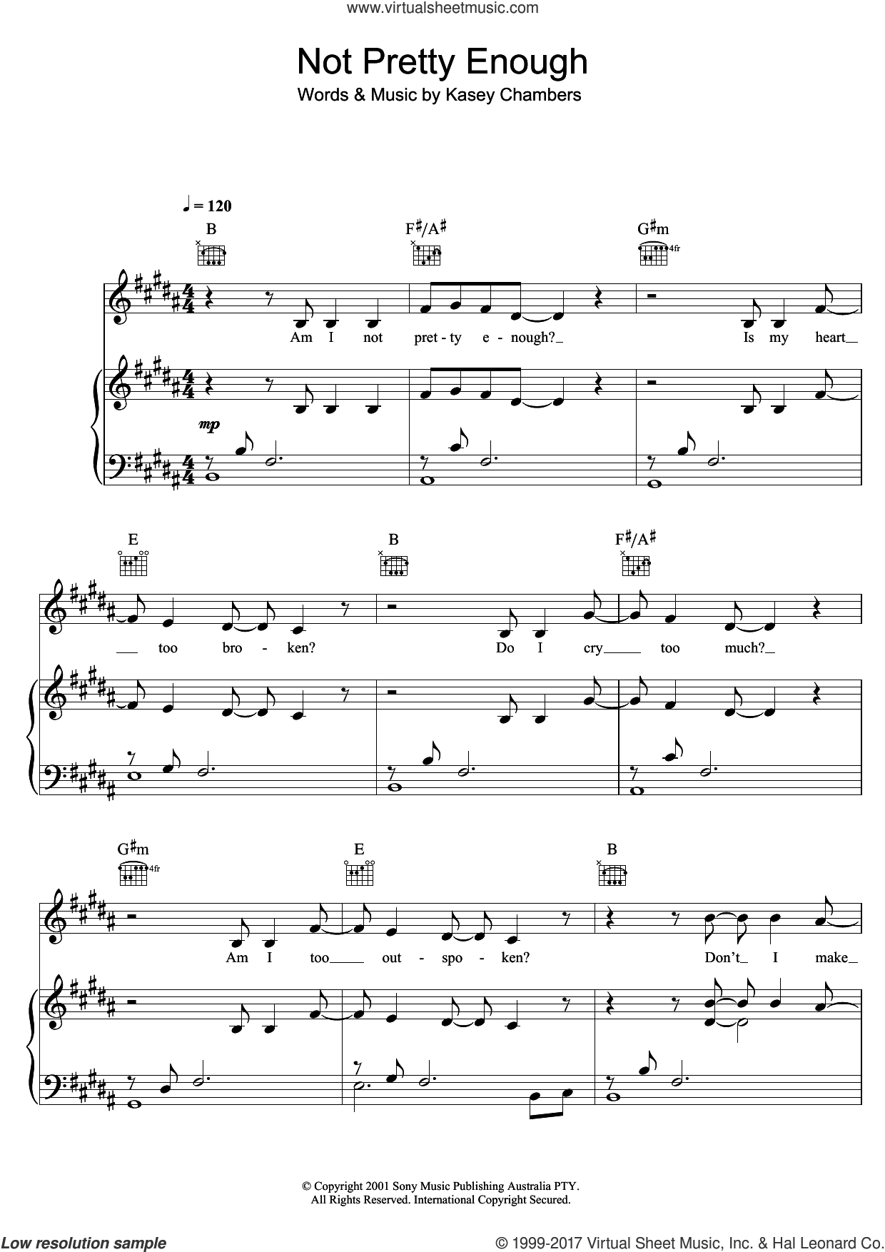 Not Pretty Enough sheet music for voice, piano or guitar by Kasey Chambers, intermediate. Score Image Preview.