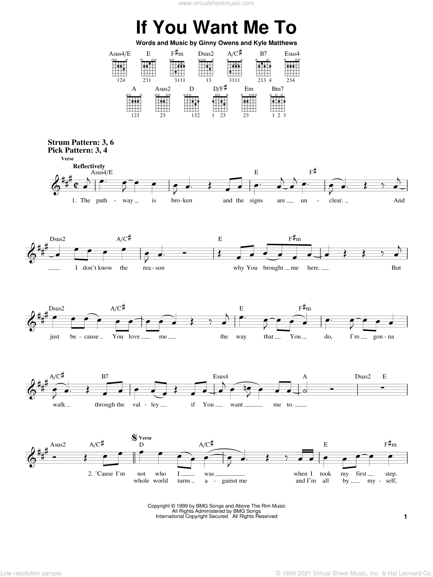 If You Want Me To sheet music for guitar solo (chords) by Kyle Matthews and Ginny Owens. Score Image Preview.