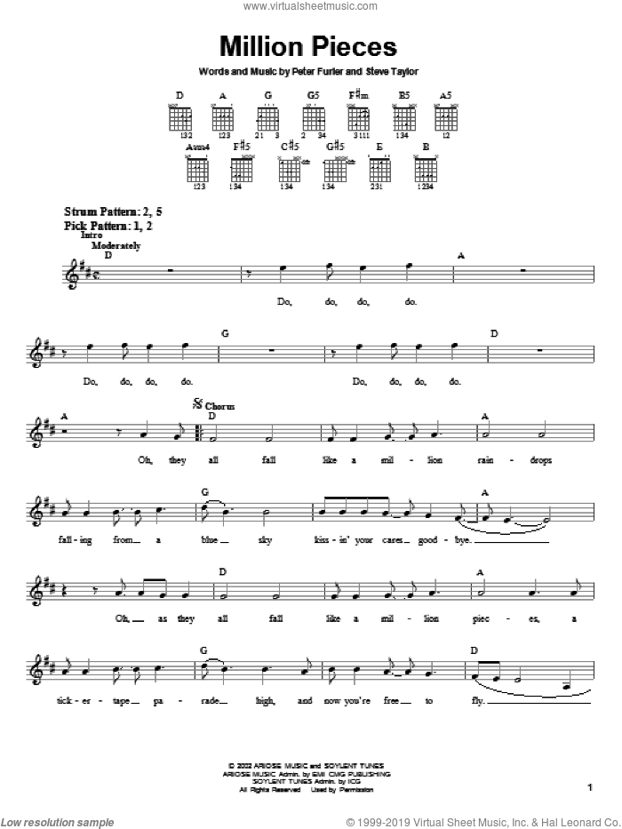 Million Pieces sheet music for guitar solo (chords) by Newsboys, Peter Furler and Steve Taylor, easy guitar (chords)