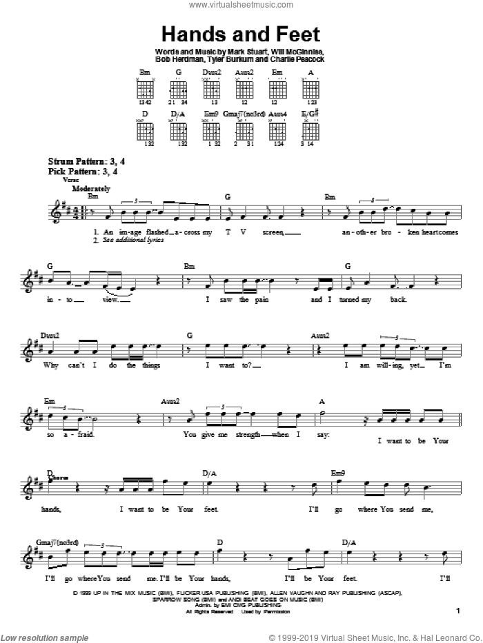 Hands And Feet sheet music for guitar solo (chords) by Audio Adrenaline, Bob Herdman, Charlie Peacock, Mark Stuart, Tyler Burkum and Will McGinniss, easy guitar (chords)