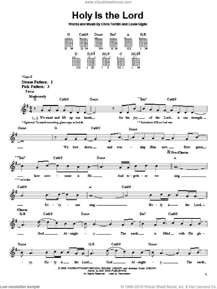 Holy Is The Lord sheet music for guitar solo (chords) by Chris Tomlin and Bethany Dillon. Score Image Preview.