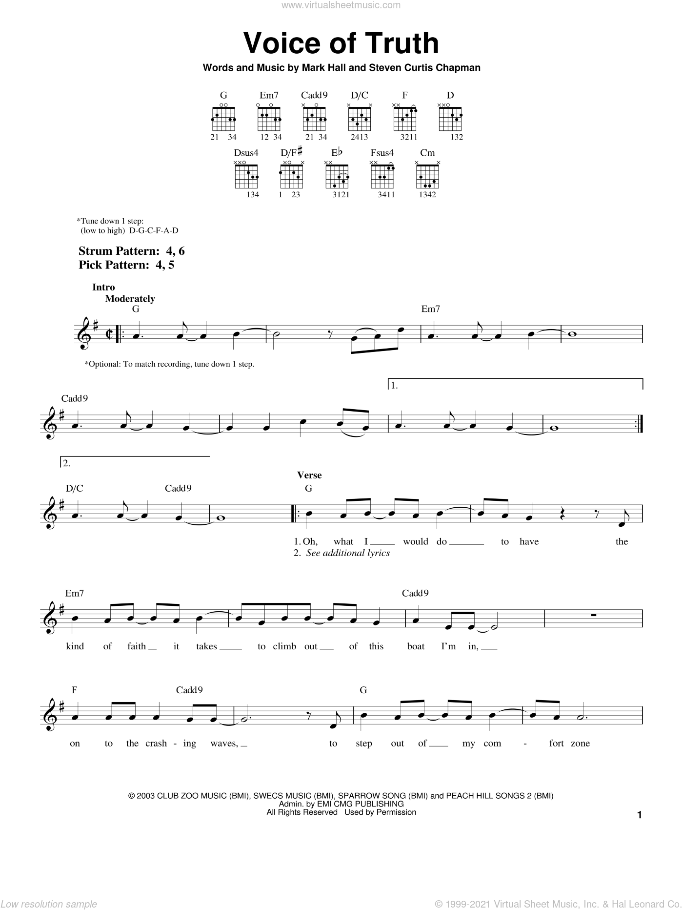 Voice Of Truth sheet music for guitar solo (chords) by Casting Crowns, Mark Hall and Steven Curtis Chapman, easy guitar (chords)