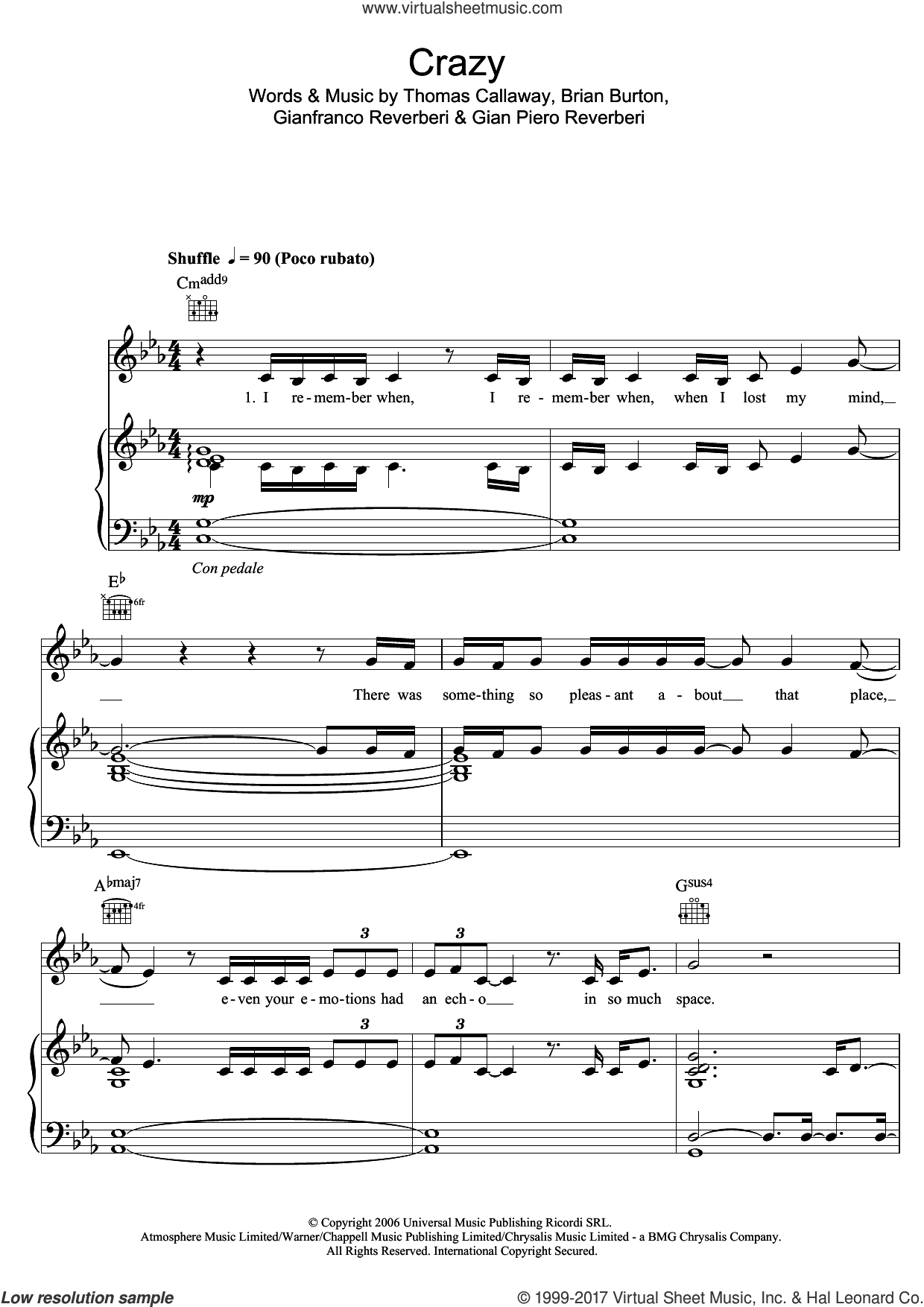 Crazy sheet music for voice, piano or guitar by Kate Noonan, intermediate voice, piano or guitar. Score Image Preview.