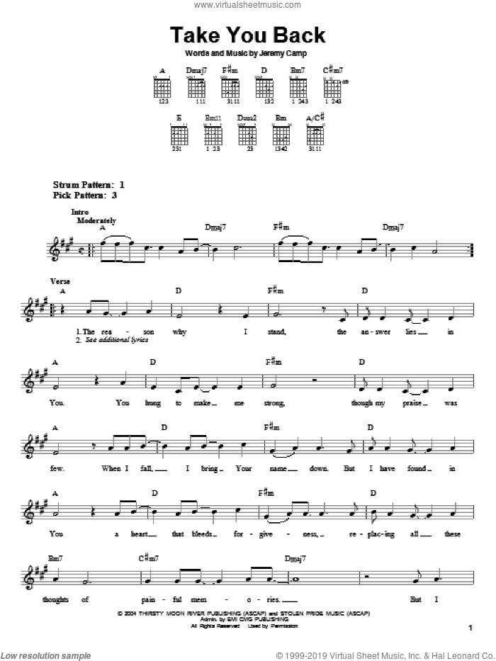 Take You Back sheet music for guitar solo (chords) by Jeremy Camp, easy guitar (chords)