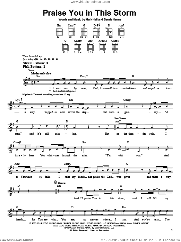 Praise You In This Storm sheet music for guitar solo (chords) by Casting Crowns, Bernie Herms and Mark Hall. Score Image Preview.