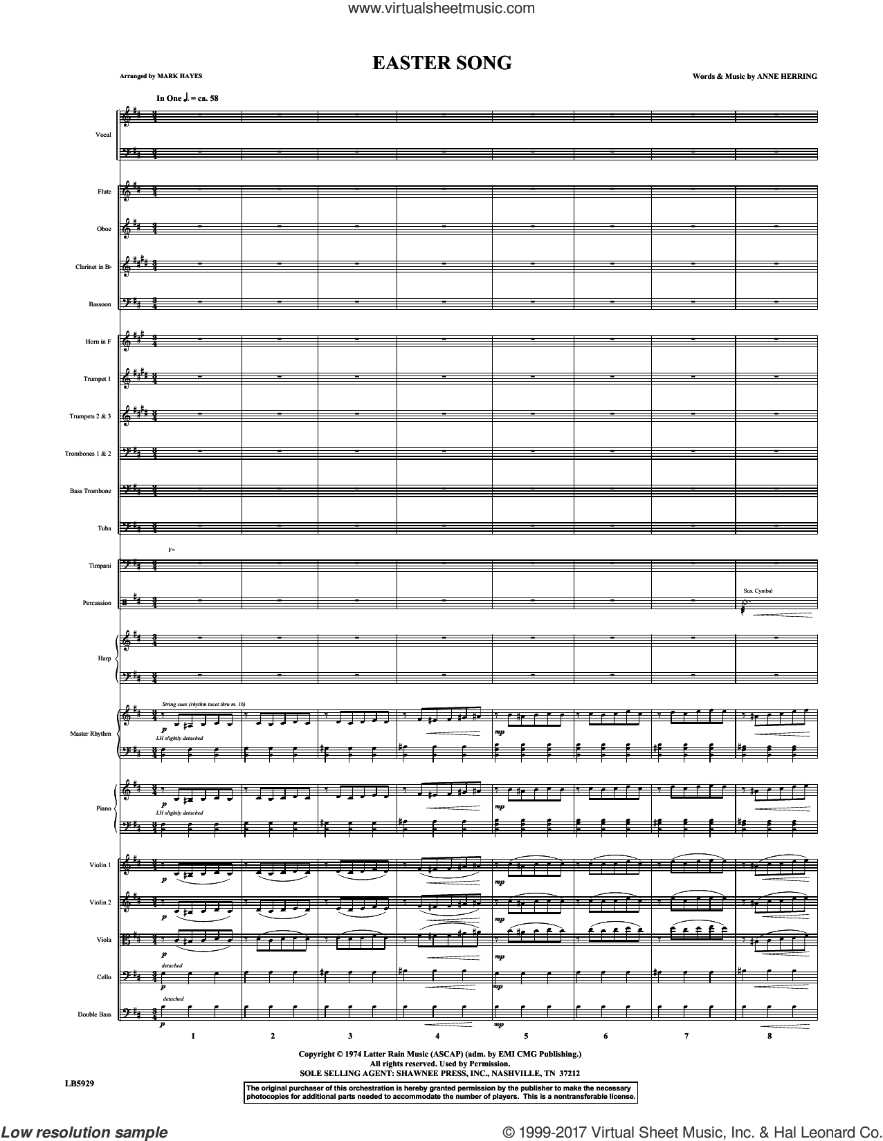 Easter Song (COMPLETE) sheet music for orchestra/band by Mark Hayes, 2nd Chapter Of Acts, Anne Herring and Glad, intermediate. Score Image Preview.