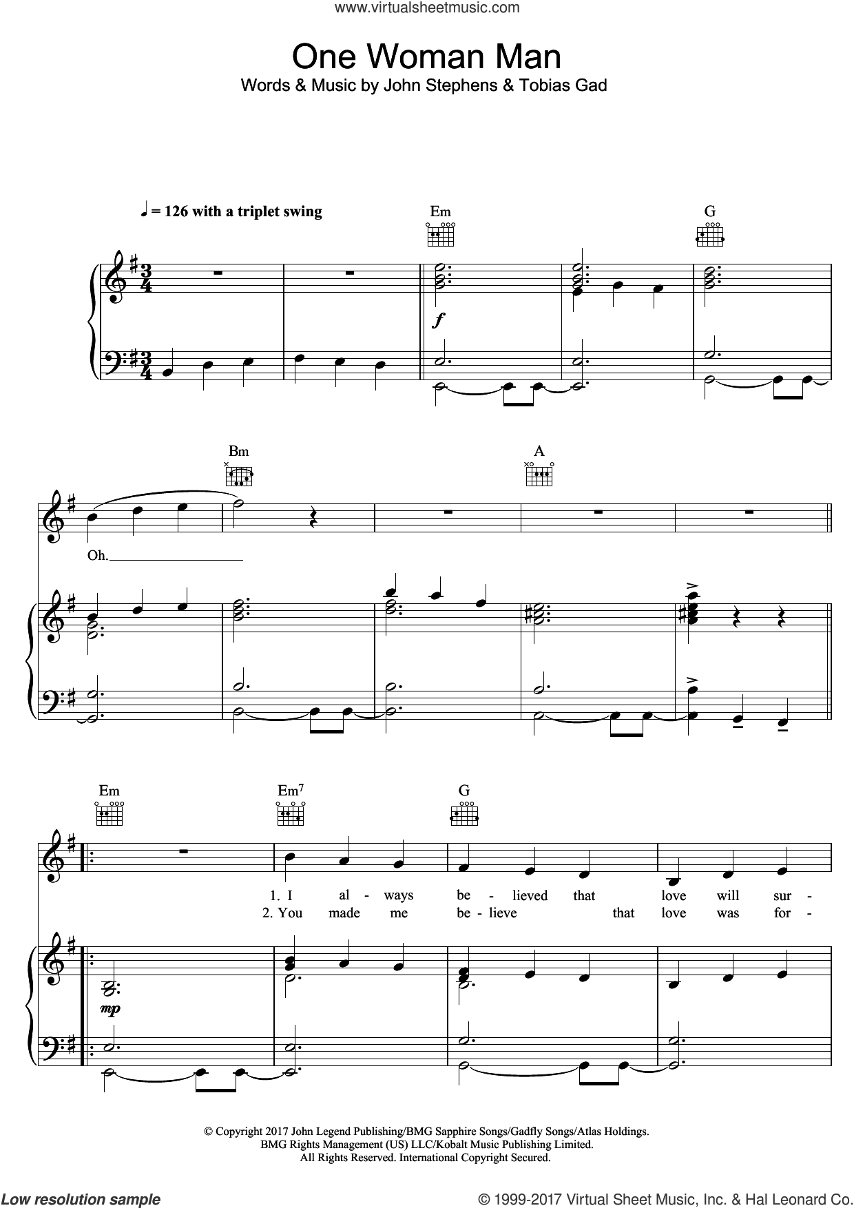 One Woman Man sheet music for voice, piano or guitar by John Legend. Score Image Preview.