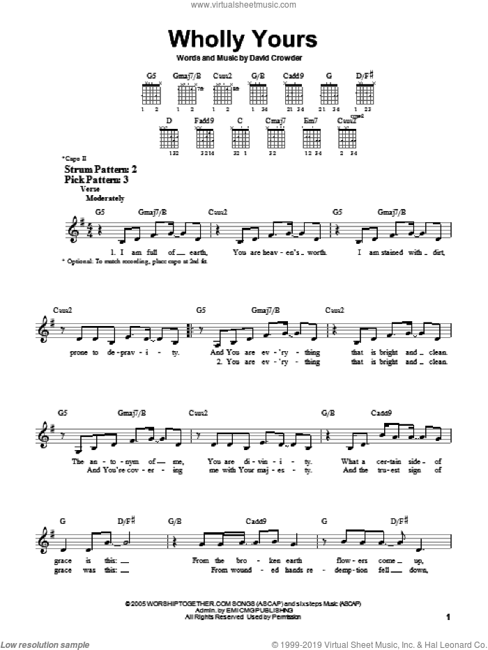 Wholly Yours sheet music for guitar solo (chords) by David Crowder Band and David Crowder, easy guitar (chords)