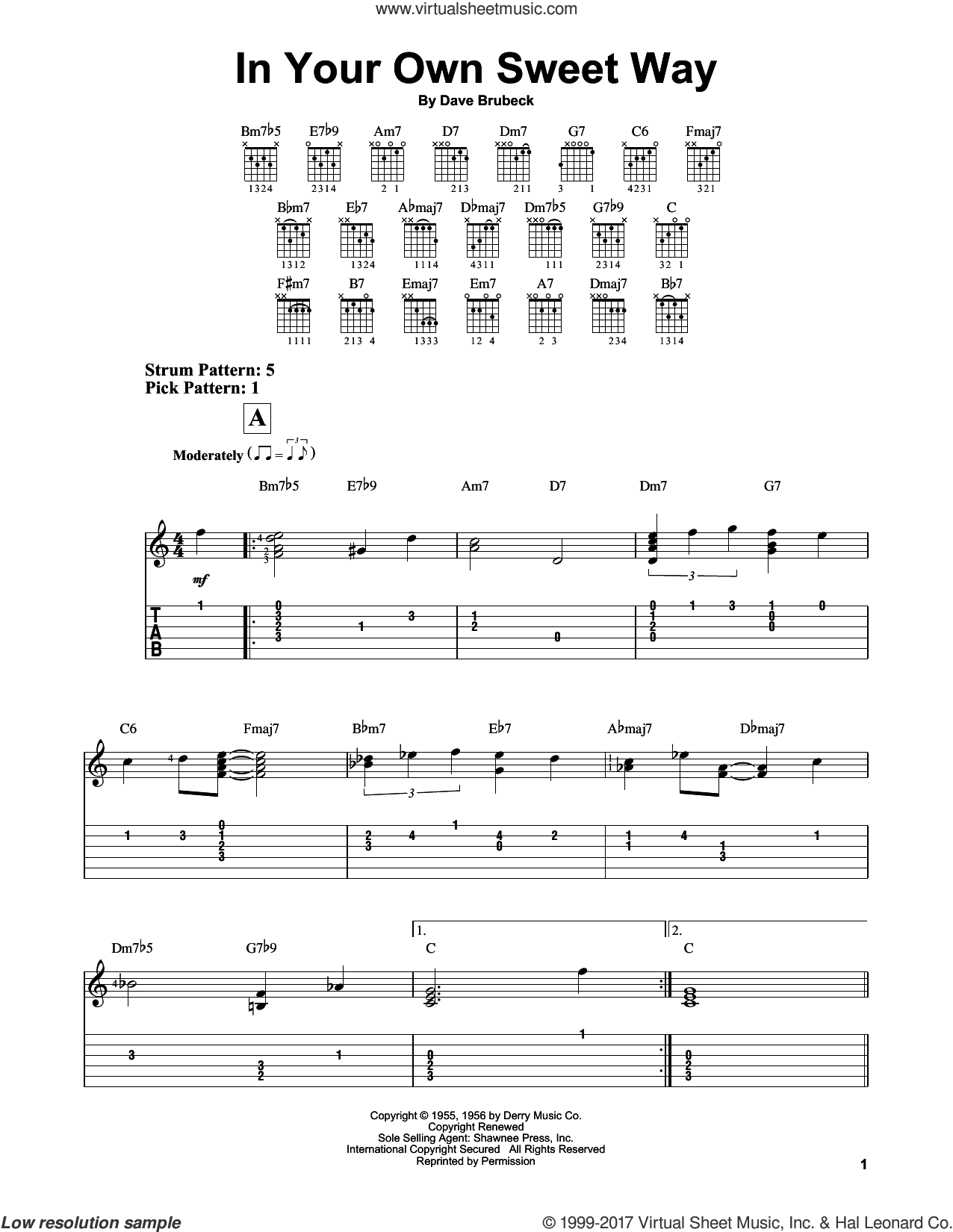 In Your Own Sweet Way sheet music for guitar solo (easy tablature) by Dave Brubeck, easy guitar (easy tablature)