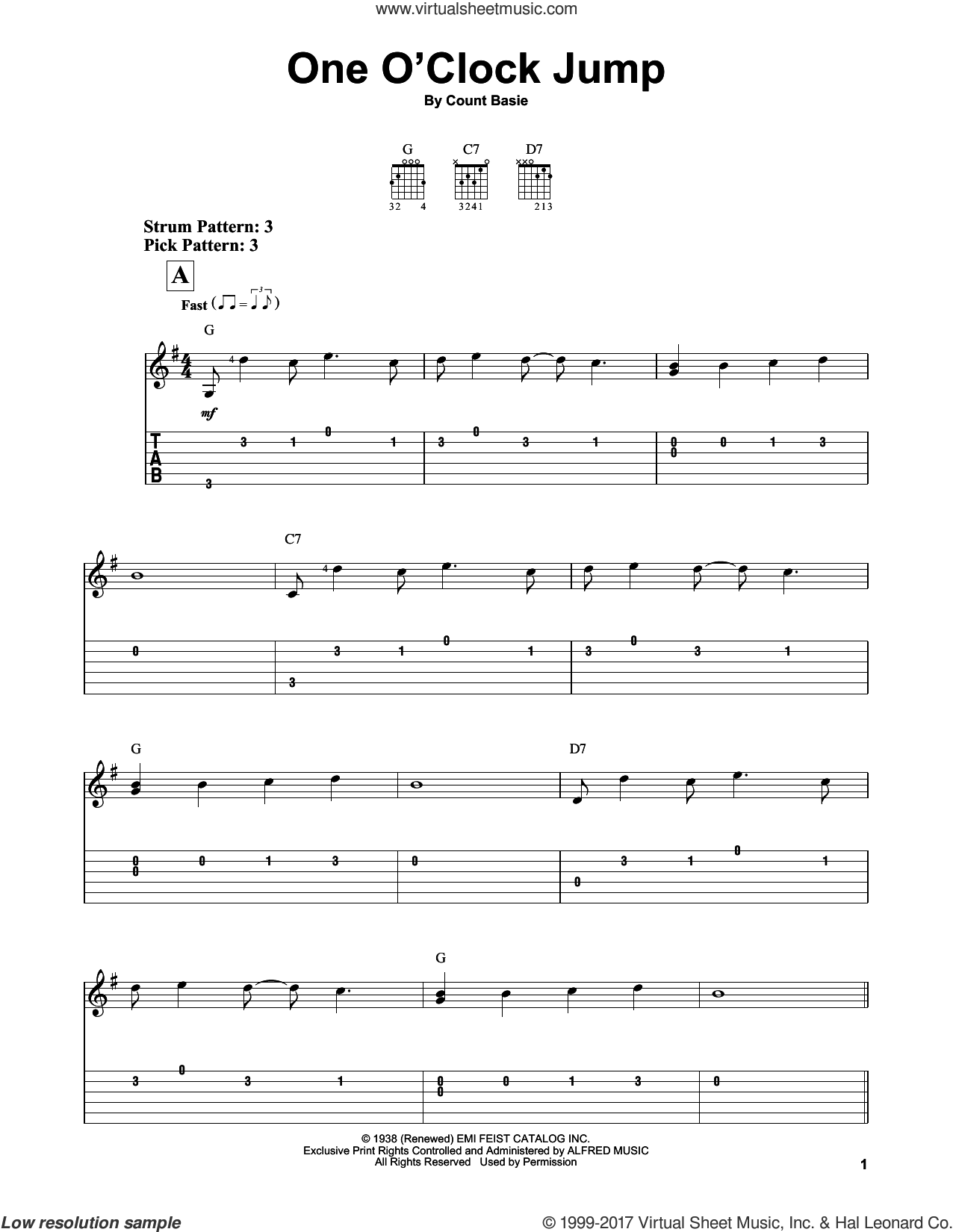 One O'Clock Jump sheet music for guitar solo (easy tablature) by Count Basie, easy guitar (easy tablature)