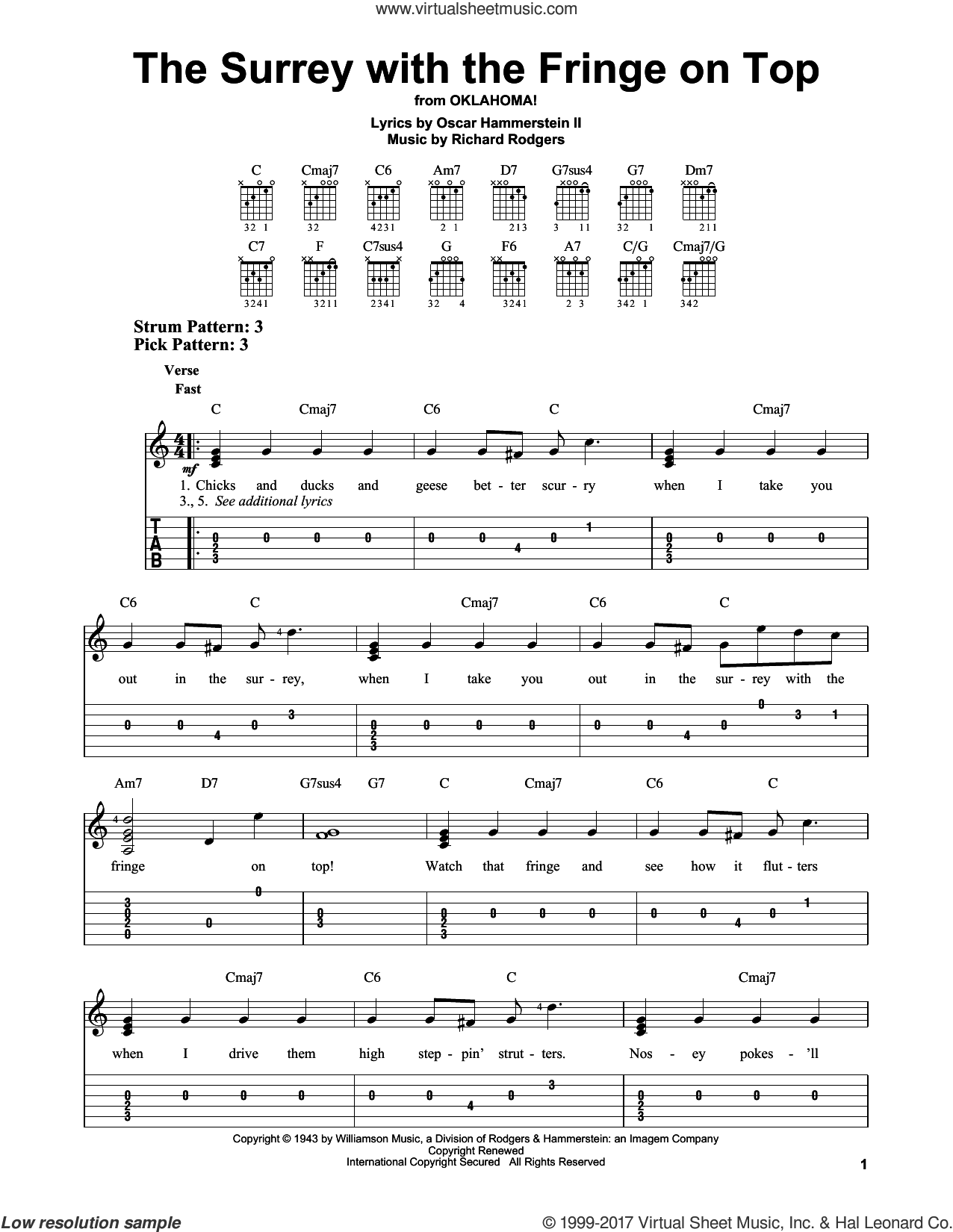 The Surrey With The Fringe On Top (from Oklahoma!) sheet music for guitar solo (easy tablature) by Rodgers & Hammerstein, Oscar II Hammerstein and Richard Rodgers, easy guitar (easy tablature)