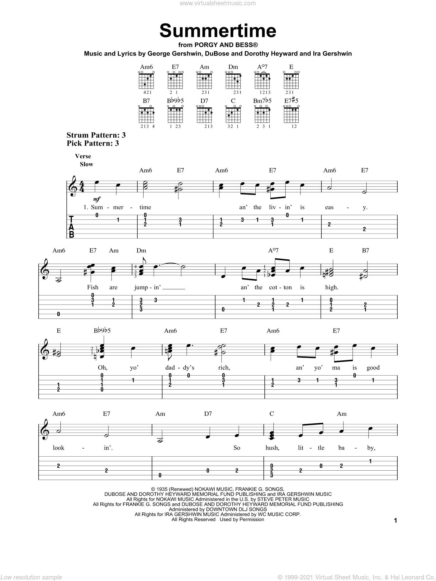Summertime sheet music for guitar solo (easy tablature) by Ira Gershwin, Dorothy Heyward, DuBose Heyward and George Gershwin. Score Image Preview.