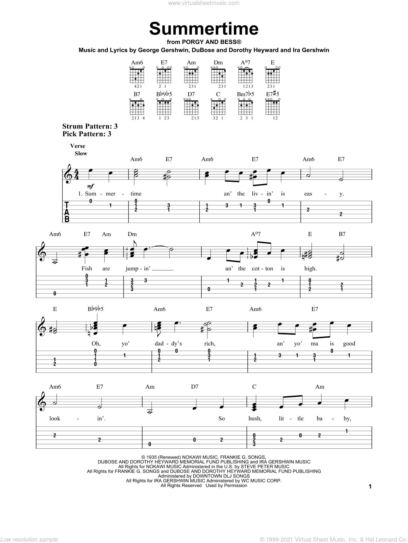 Summertime sheet music for guitar solo (easy tablature) by DuBose Heyward, Dorothy Heyward, George Gershwin and Ira Gershwin, easy guitar (easy tablature)