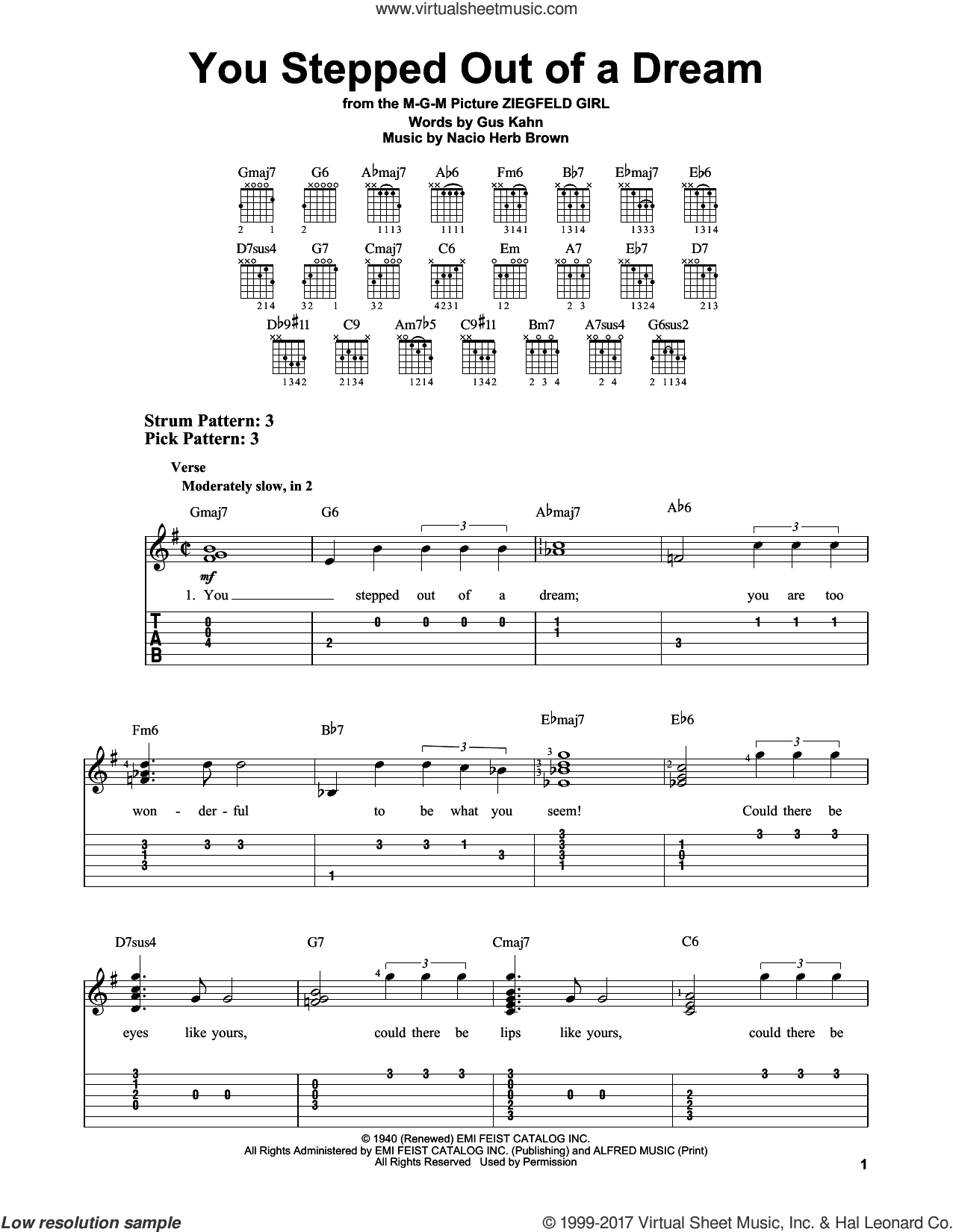 You Stepped Out Of A Dream sheet music for guitar solo (easy tablature) by Gus Kahn and Nacio Herb Brown. Score Image Preview.