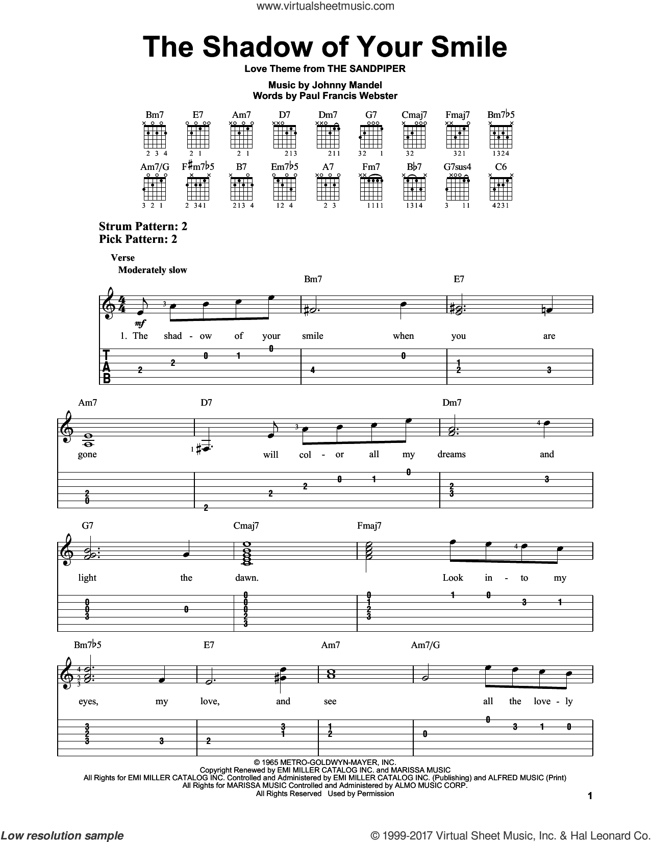 The Shadow Of Your Smile sheet music for guitar solo (easy tablature) by Johnny Mandel and Paul Francis Webster, easy guitar (easy tablature). Score Image Preview.