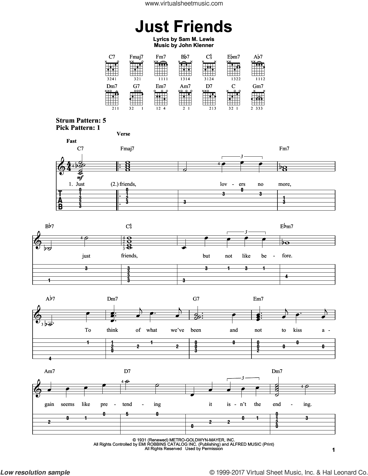 Just Friends sheet music for guitar solo (easy tablature) by John Klenner and Sam Lewis, easy guitar (easy tablature)