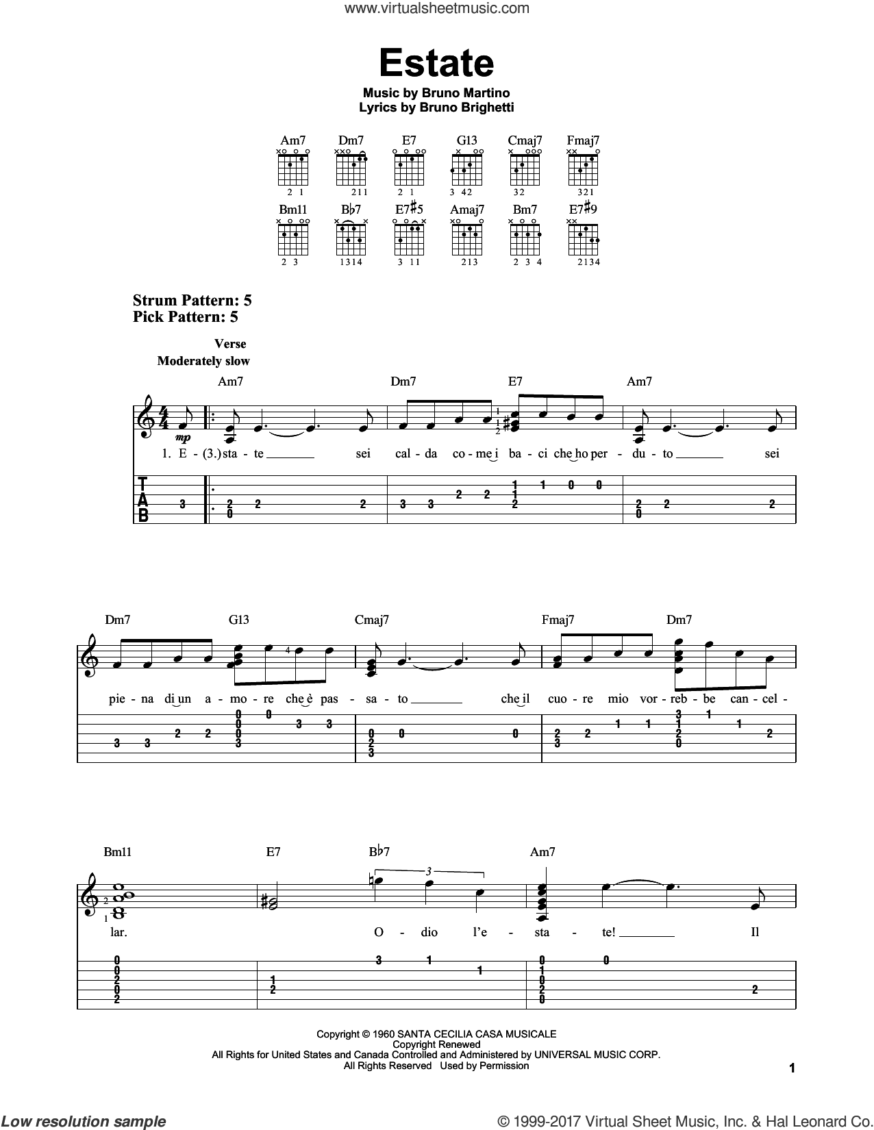 Estate sheet music for guitar solo (easy tablature) by Bruno Brighetti and Bruno Martino, easy guitar (easy tablature)