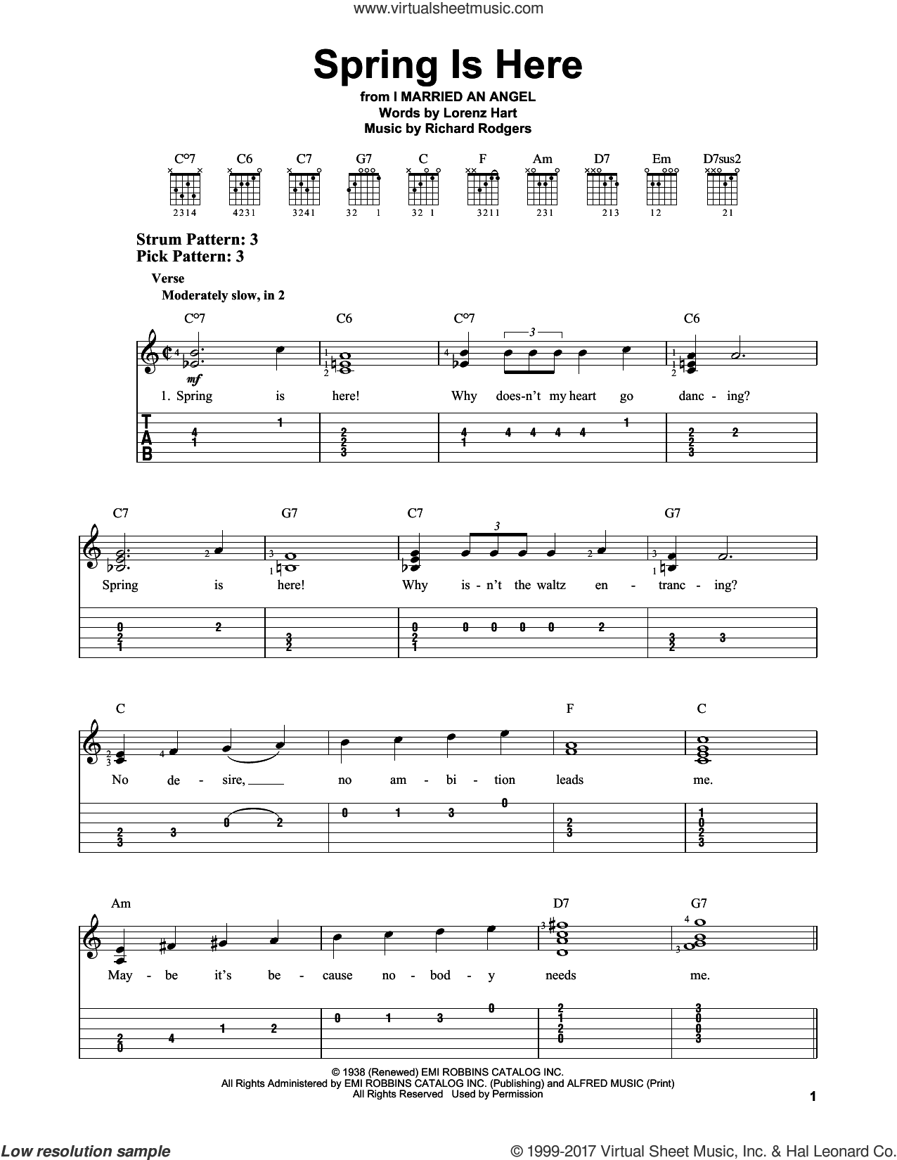 Spring Is Here sheet music for guitar solo (easy tablature) by Lorenz Hart and Richard Rodgers, easy guitar (easy tablature)