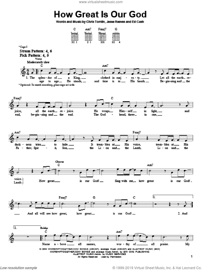 How Great Is Our God sheet music for guitar solo (chords) by Chris Tomlin, Ed Cash and Jesse Reeves. Score Image Preview.