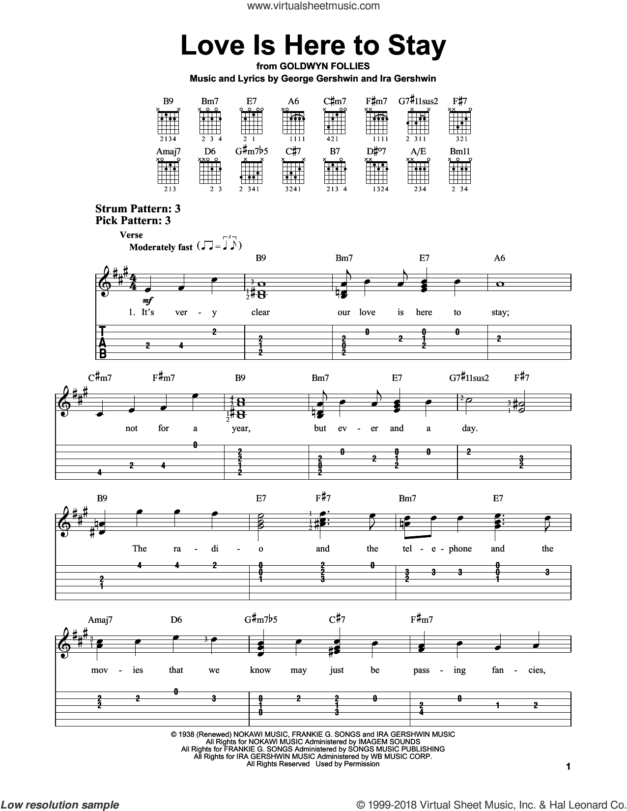 Love Is Here To Stay sheet music for guitar solo (easy tablature) by Ira Gershwin and George Gershwin, easy guitar (easy tablature)