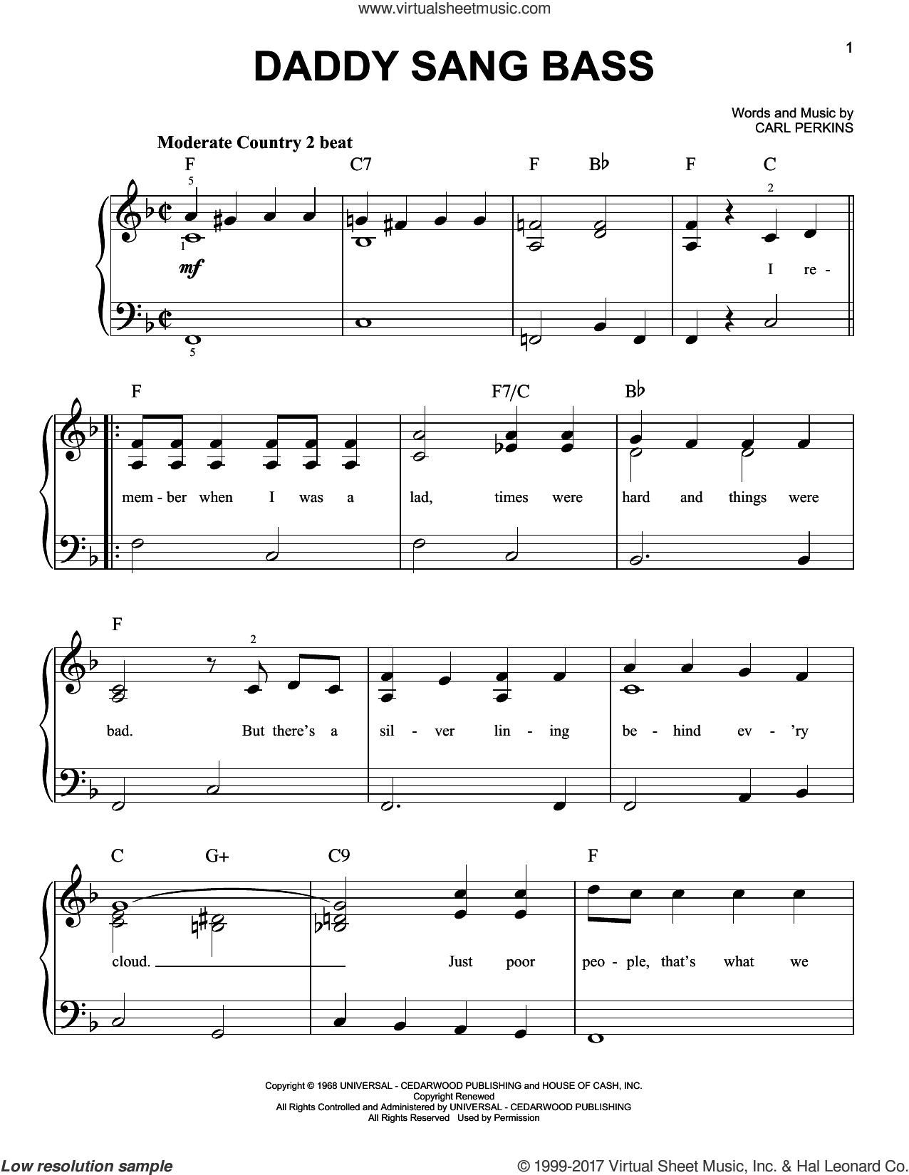 Daddy Sang Bass sheet music for piano solo by Carl Perkins and Johnny Cash. Score Image Preview.