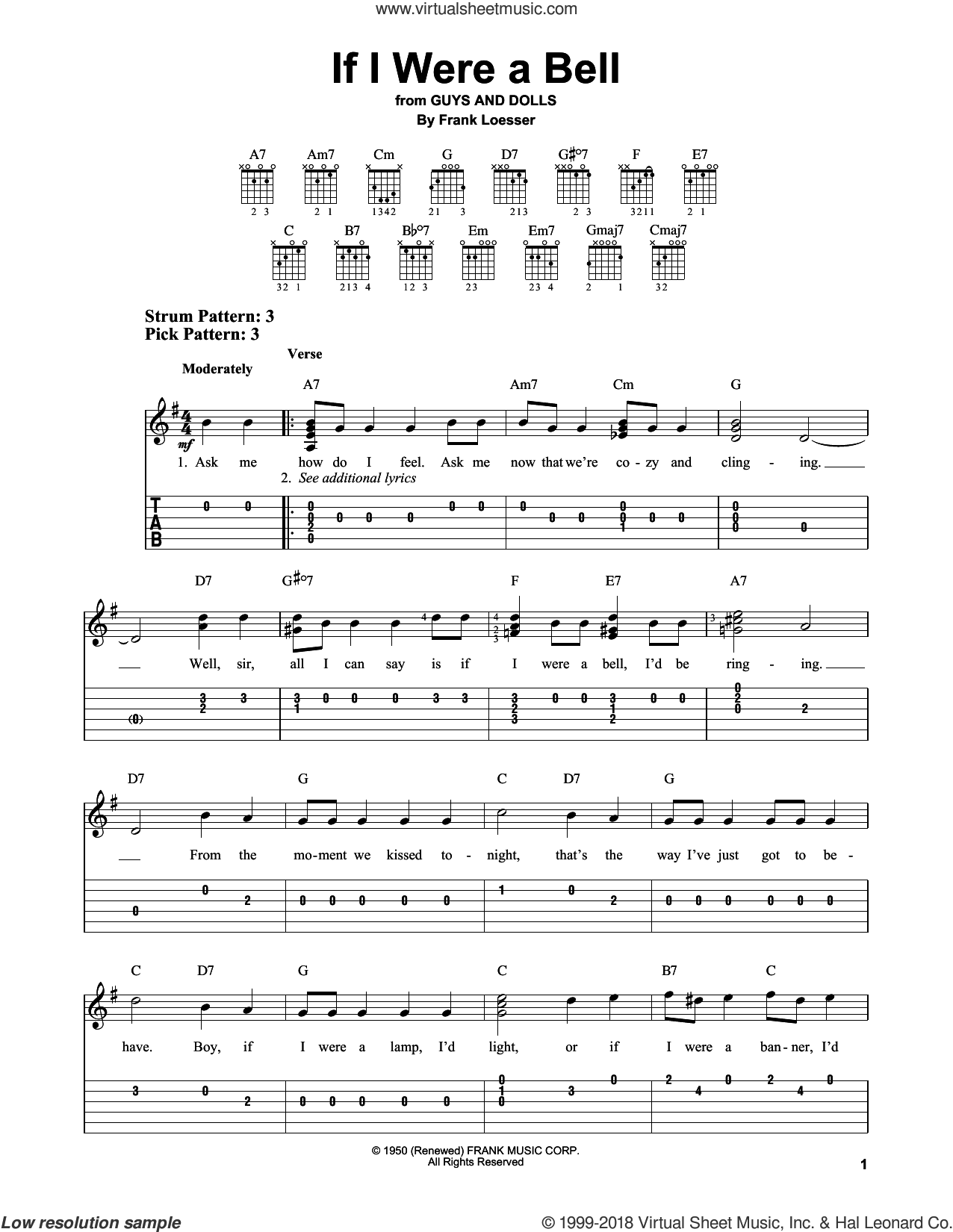 If I Were A Bell sheet music for guitar solo (easy tablature) by Frank Loesser, easy guitar (easy tablature)