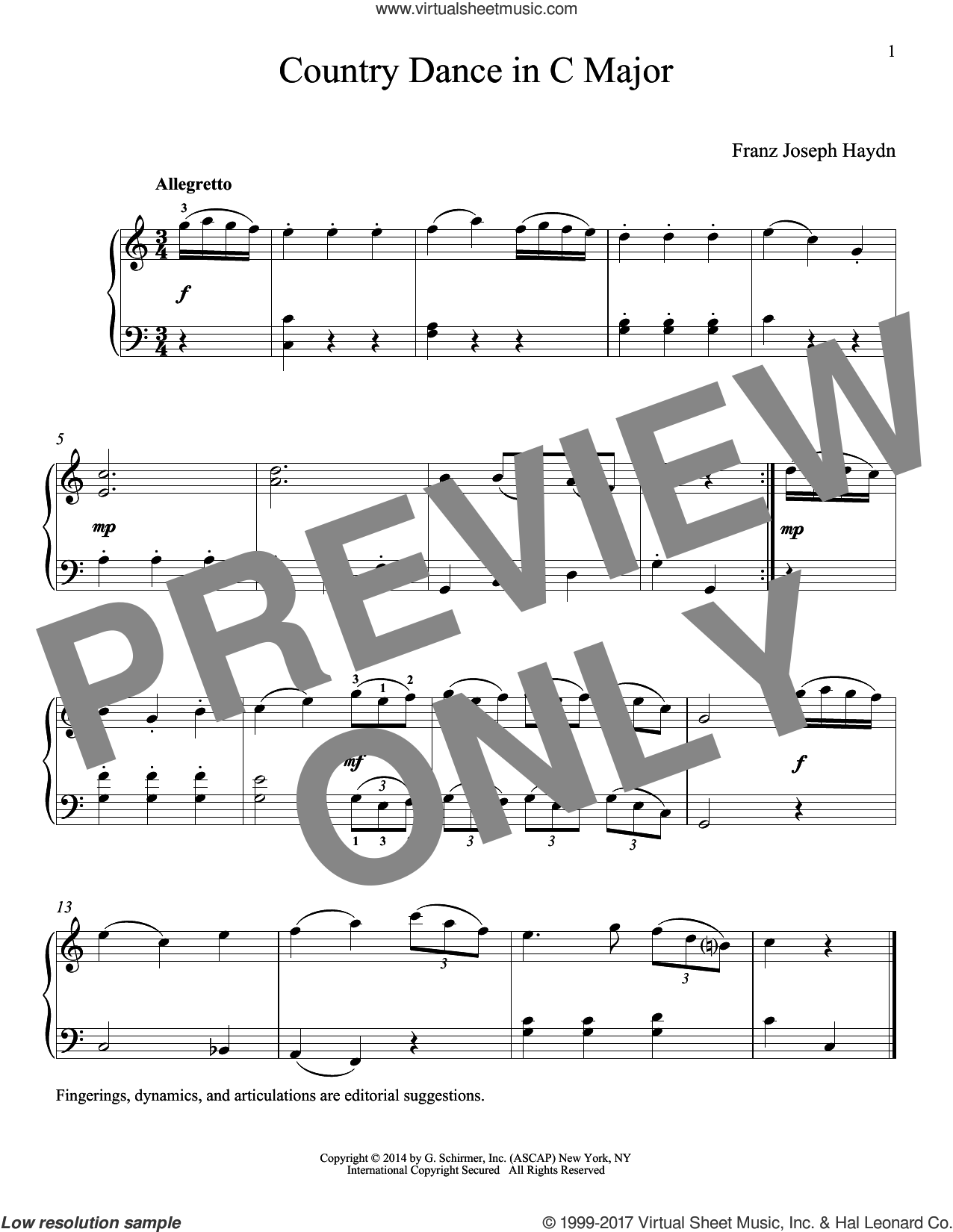 Country Dance In C Major sheet music for piano solo by Franz Joseph Haydn, classical score, intermediate skill level