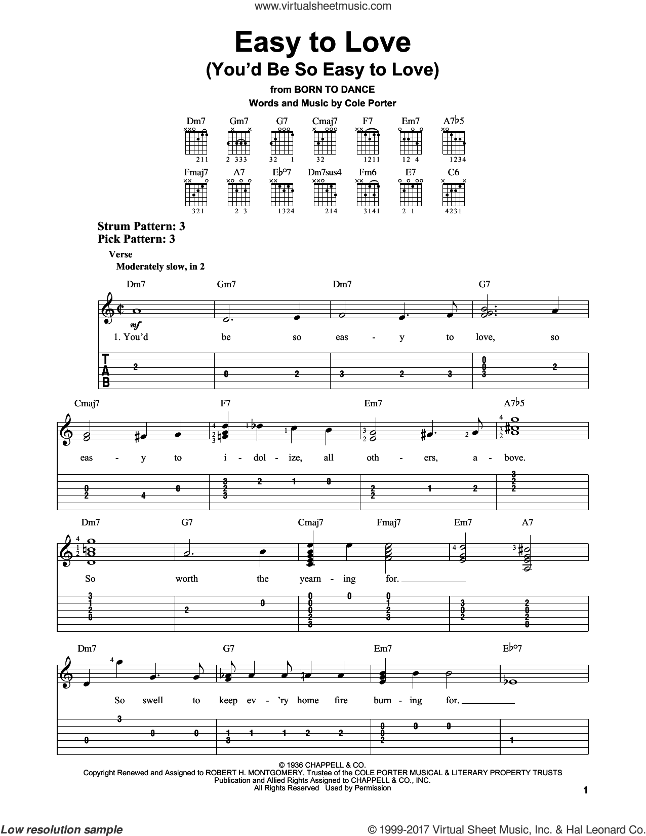 Easy To Love (You'd Be So Easy To Love) sheet music for guitar solo (easy tablature) by Cole Porter. Score Image Preview.