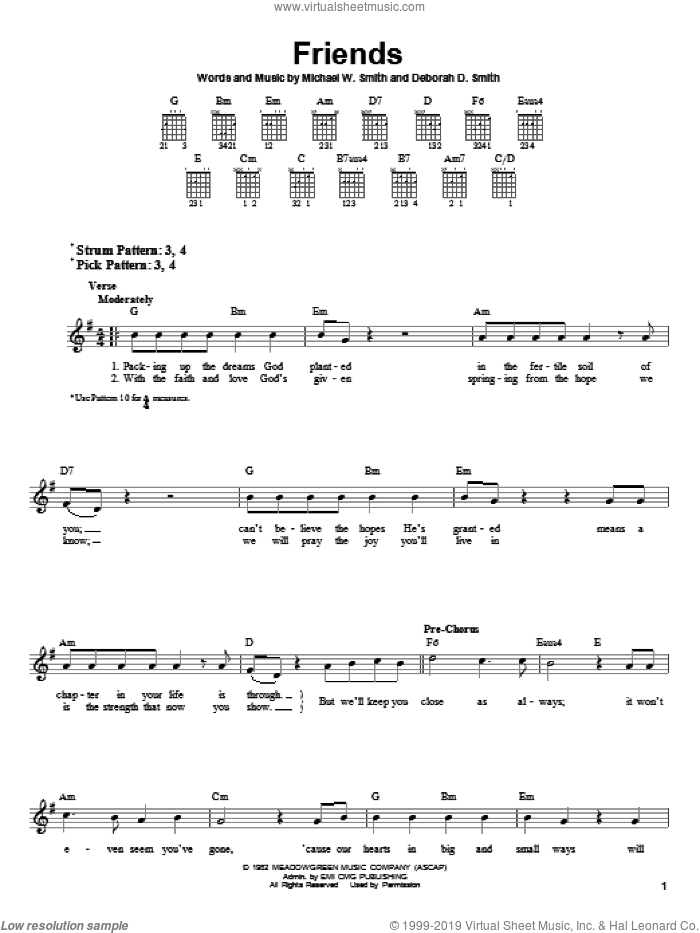 Friends sheet music for guitar solo (chords) by Michael W. Smith and Deborah D. Smith, wedding score, easy guitar (chords)