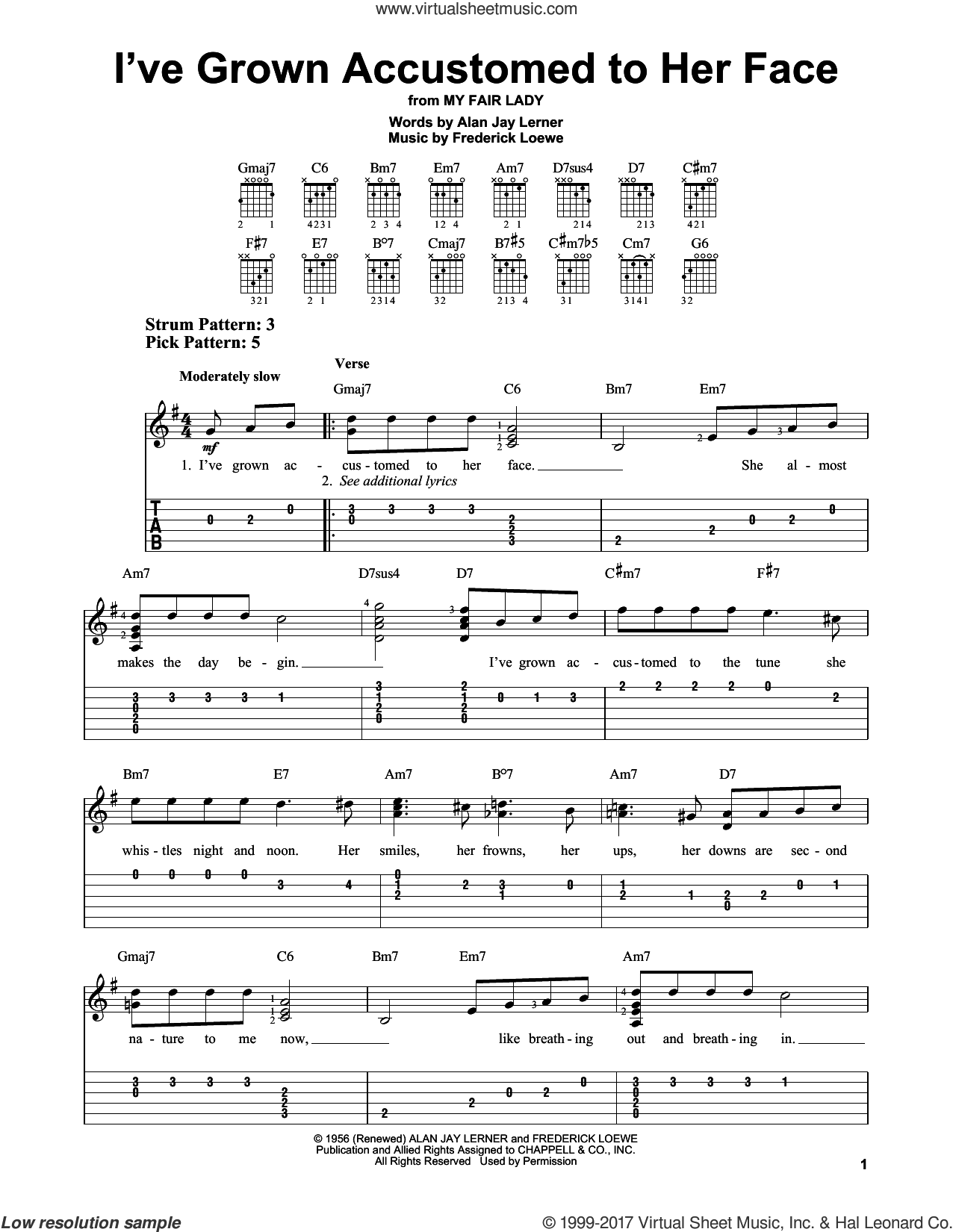 I've Grown Accustomed To Her Face sheet music for guitar solo (easy tablature) by Alan Jay Lerner, Gordon MacRae, Rosemary Clooney and Frederick Loewe, easy guitar (easy tablature)