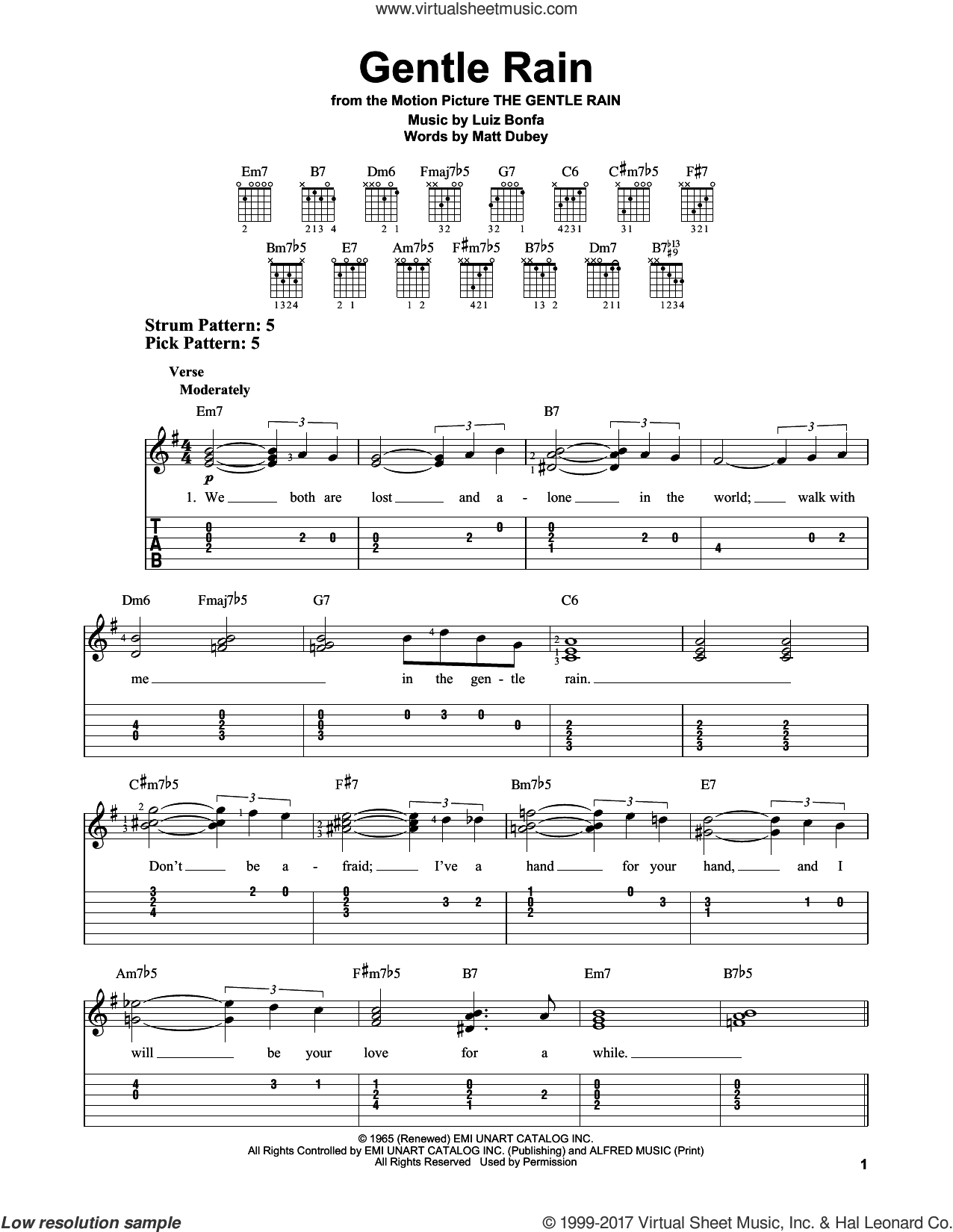 Gentle Rain sheet music for guitar solo (easy tablature) by Matt Dubey and Luiz Bonfa. Score Image Preview.