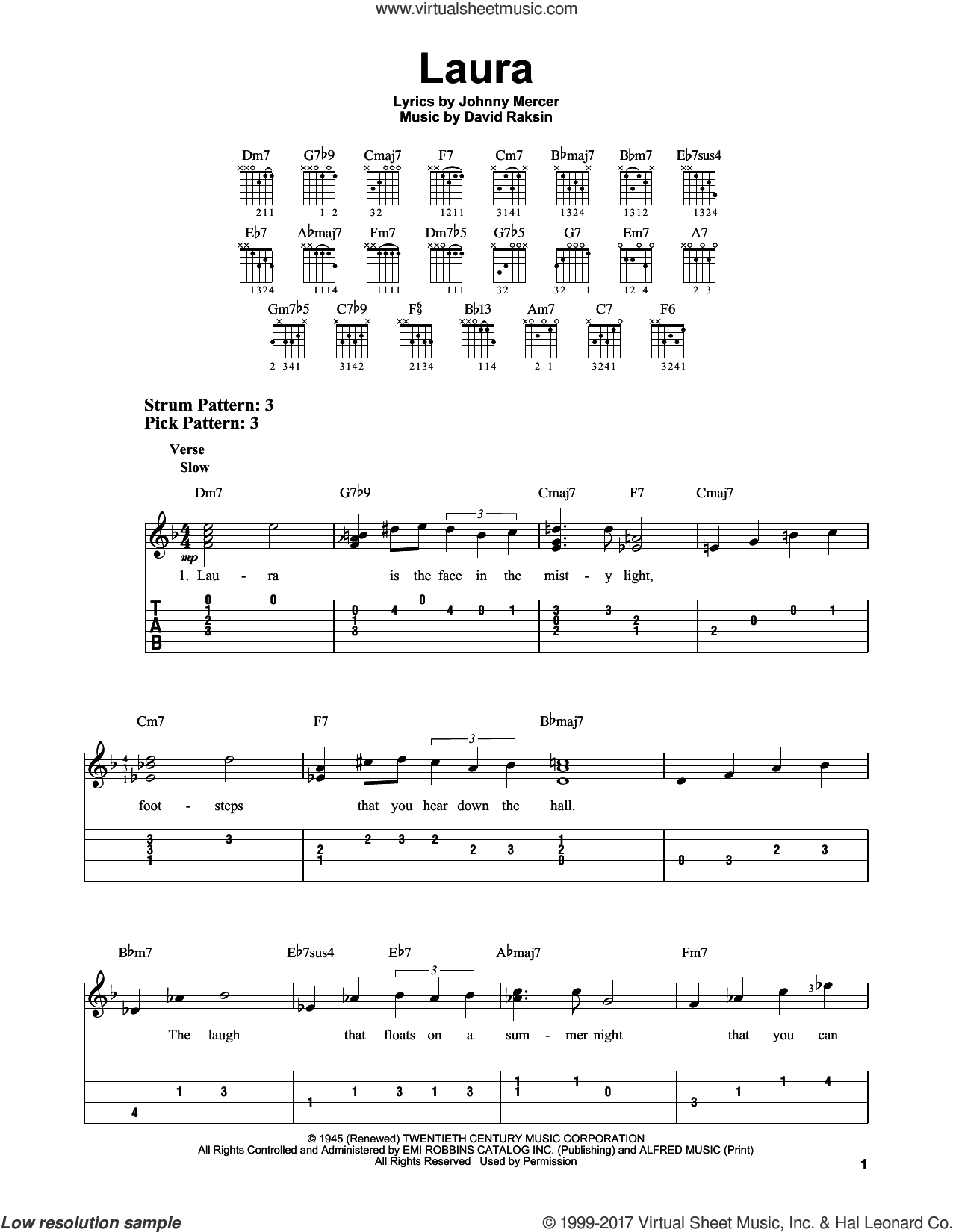 Laura sheet music for guitar solo (easy tablature) by Johnny Mercer and David Raksin, easy guitar (easy tablature)