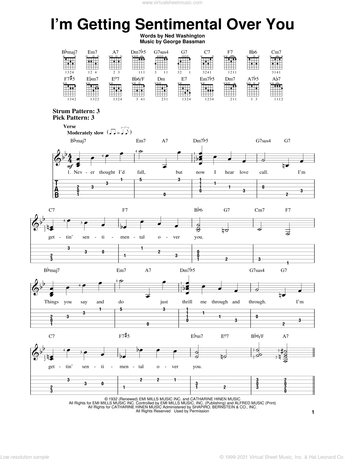 I'm Getting Sentimental Over You sheet music for guitar solo (easy tablature) by Ned Washington and George Bassman, easy guitar (easy tablature). Score Image Preview.
