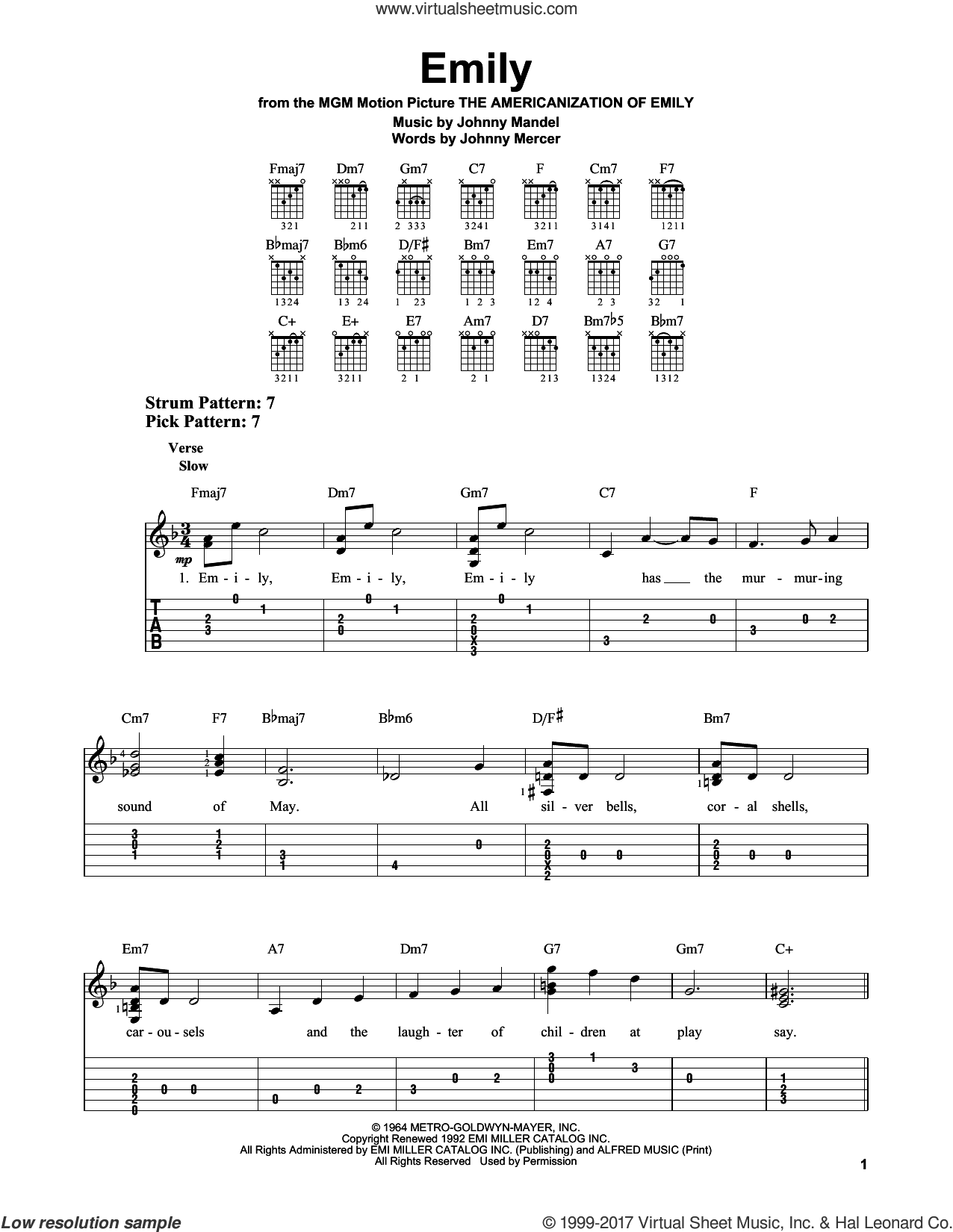 Emily sheet music for guitar solo (easy tablature) by Johnny Mercer and Johnny Mandel, easy guitar (easy tablature). Score Image Preview.