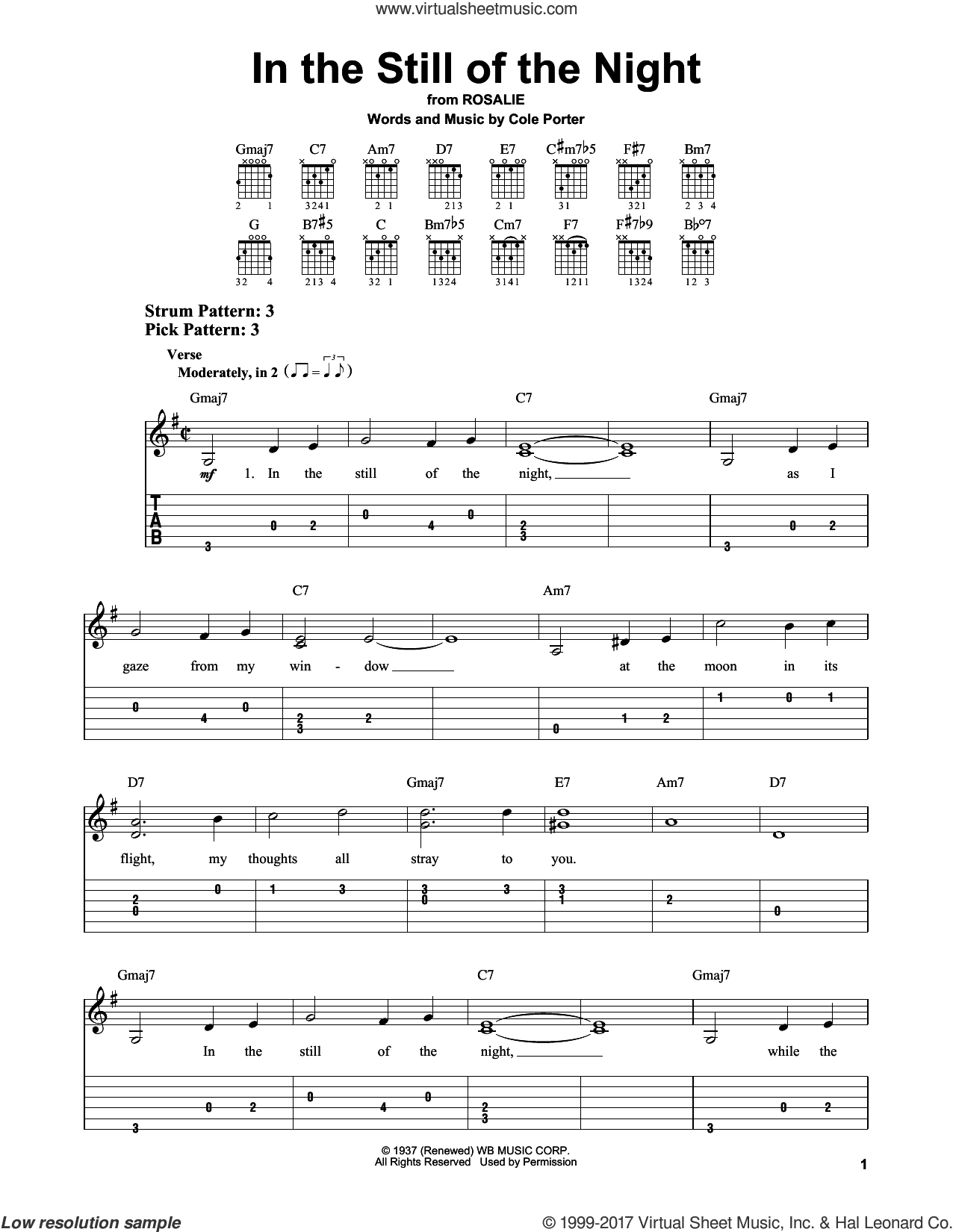 In The Still Of The Night sheet music for guitar solo (easy tablature) by Cole Porter. Score Image Preview.