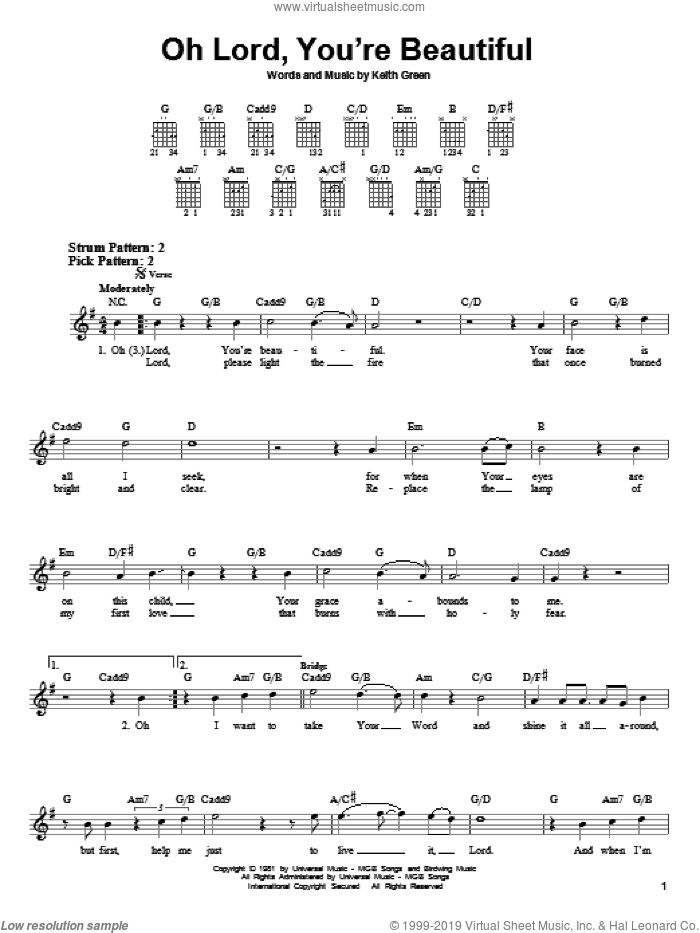 Oh Lord, You're Beautiful sheet music for guitar solo (chords) by Keith Green and Rebecca St. James, easy guitar (chords)