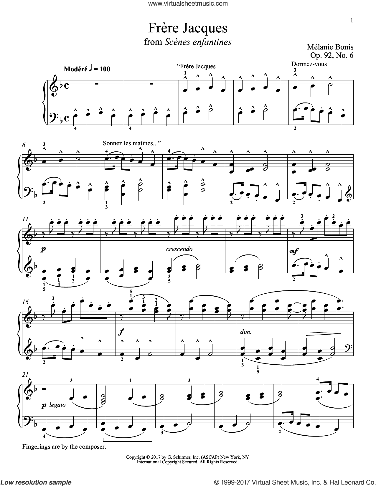 Frere Jacques sheet music for piano solo by Melanie Bonis and Richard Walters. Score Image Preview.