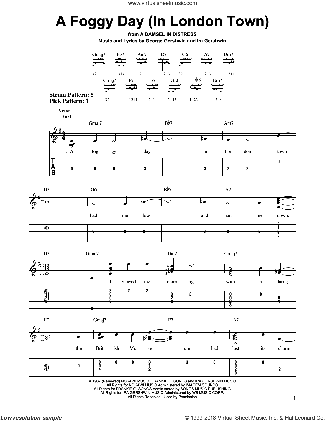 A Foggy Day (In London Town) sheet music for guitar solo (easy tablature) by Ira Gershwin and George Gershwin. Score Image Preview.
