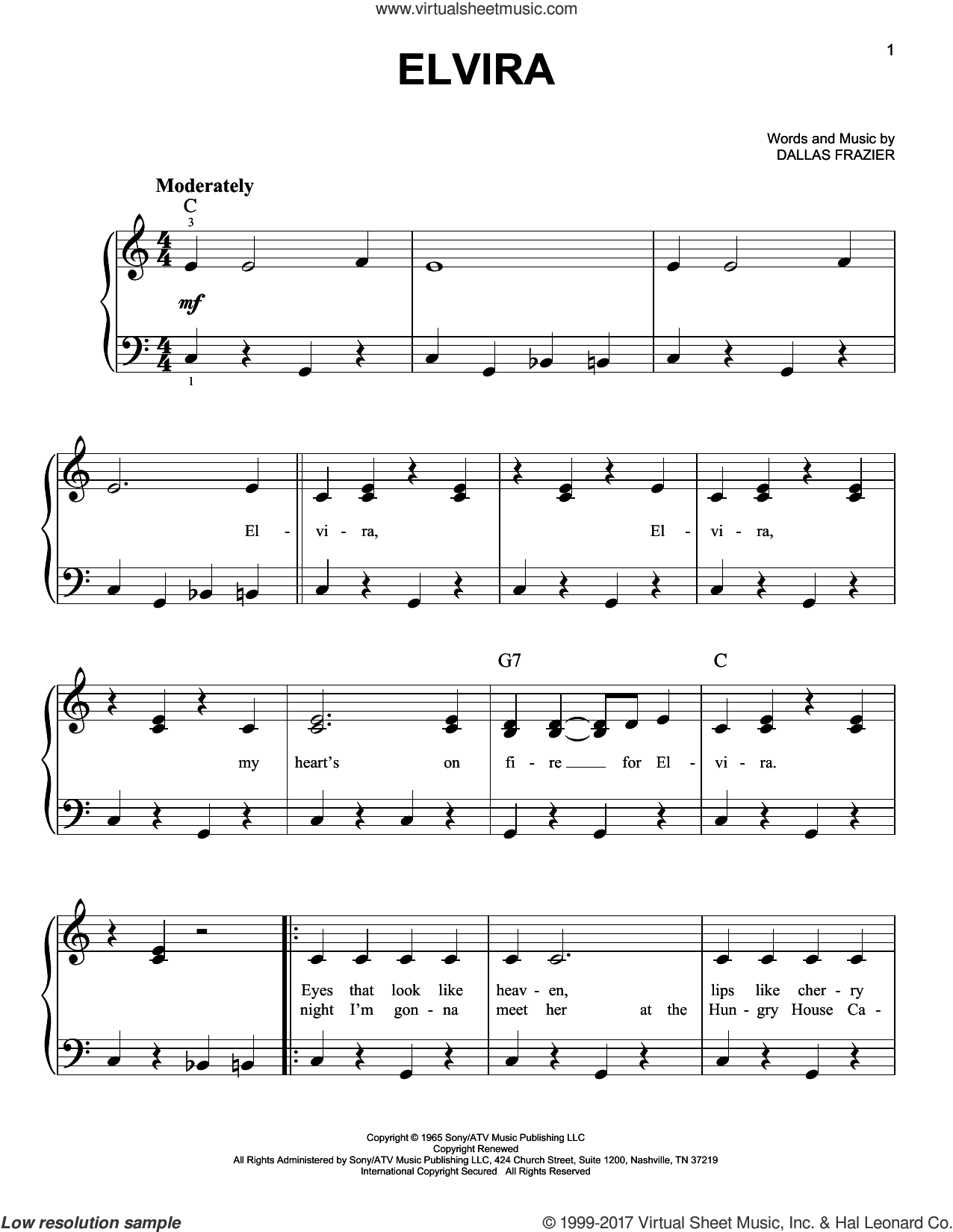 Elvira sheet music for piano solo by Oak Ridge Boys and Dallas Frazier, easy skill level