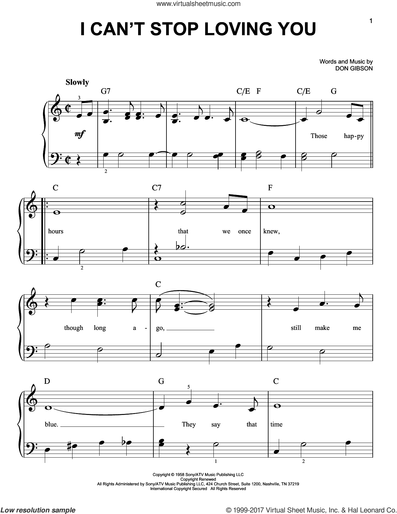 I Can't Stop Loving You sheet music for piano solo by Don Gibson, Conway Twitty, Elvis Presley, Kitty Wells and Ray Charles, easy. Score Image Preview.
