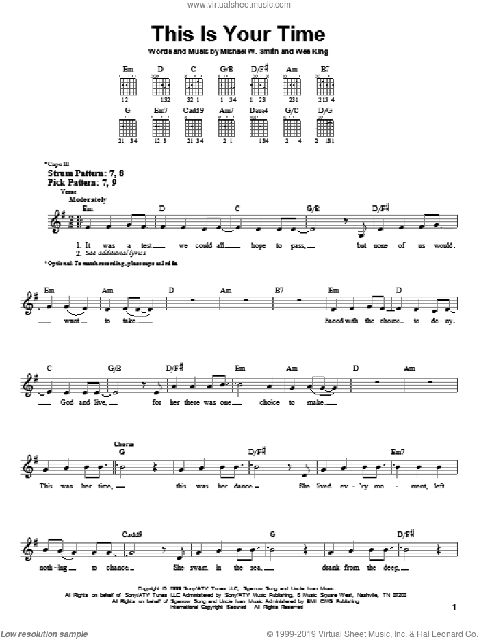 This Is Your Time sheet music for guitar solo (chords) by Michael W. Smith and Wes King, easy guitar (chords)