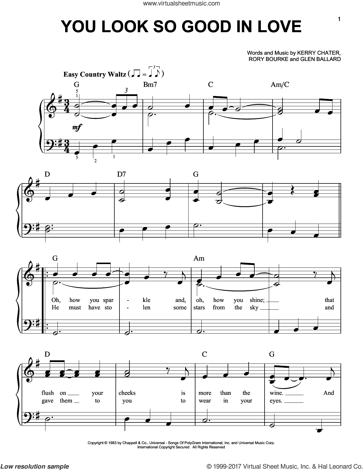 You Look So Good In Love sheet music for piano solo by George Strait, Glen Ballard, Kerry Chater and Rory Bourke, easy. Score Image Preview.