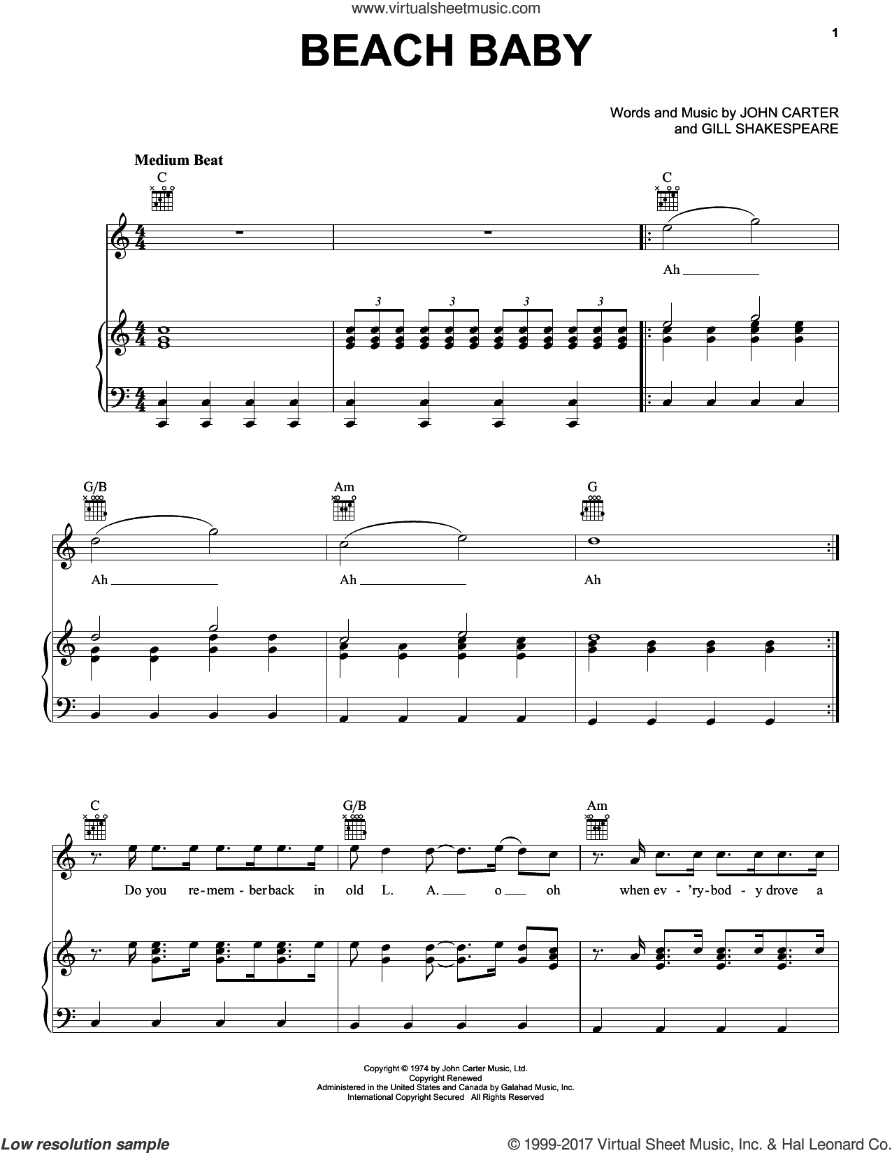 Beach Baby sheet music for voice, piano or guitar by The First Class, Gill Shakespeare and John Carter, intermediate skill level
