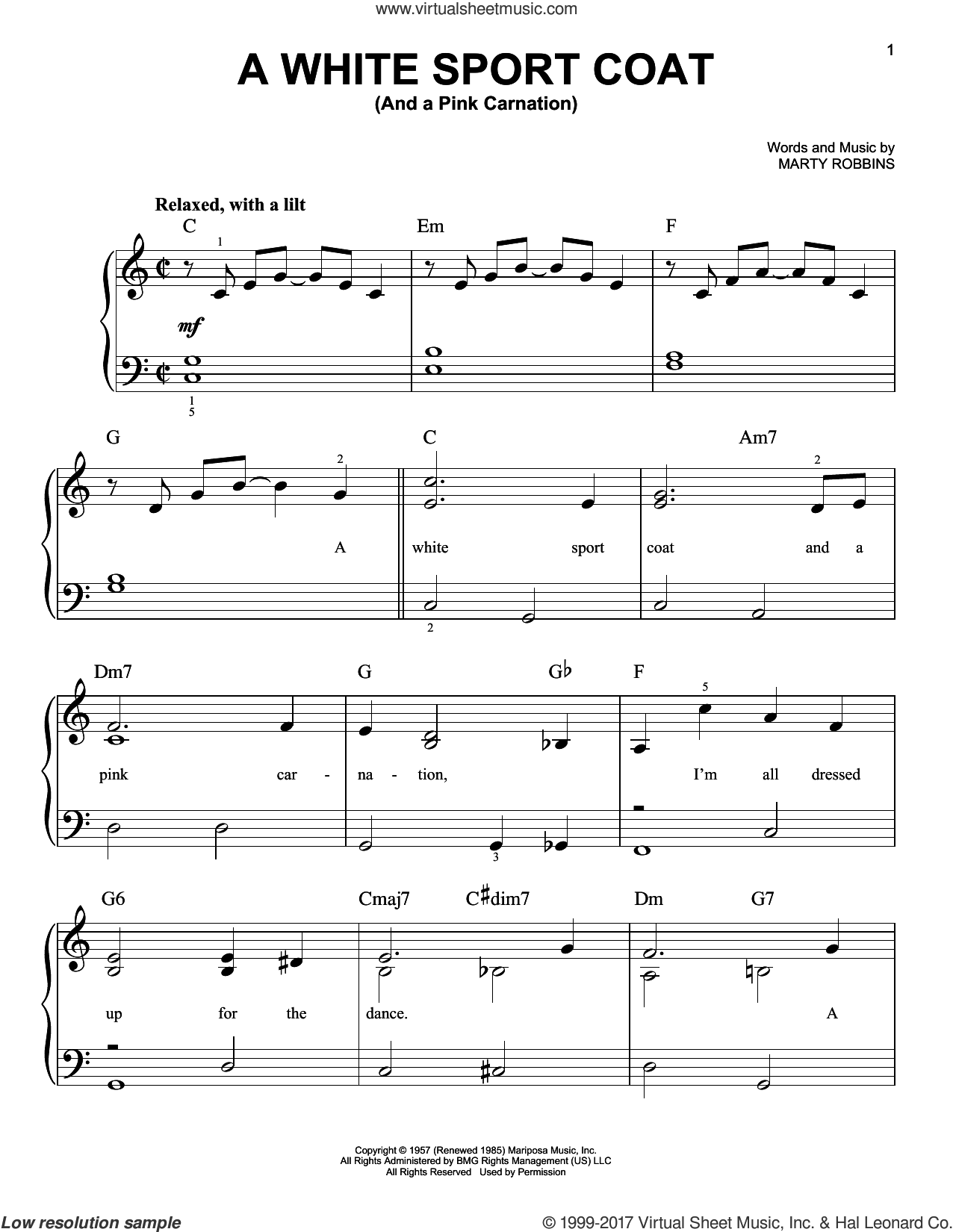 A White Sport Coat (And A Pink Carnation) sheet music for piano solo by Marty Robbins, easy skill level