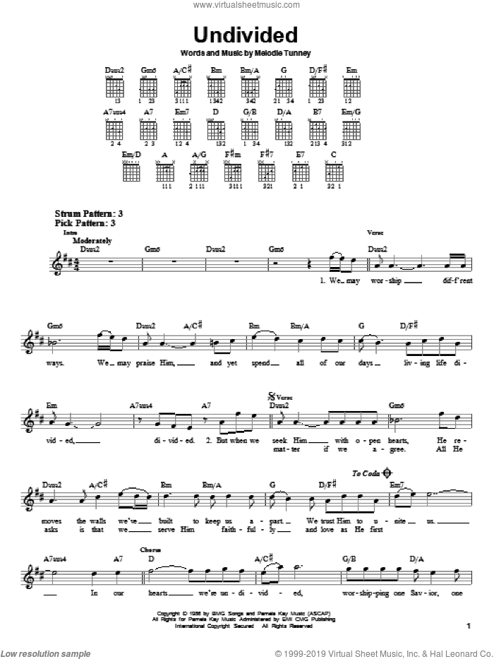 Undivided sheet music for guitar solo (chords) by Melodie Tunney