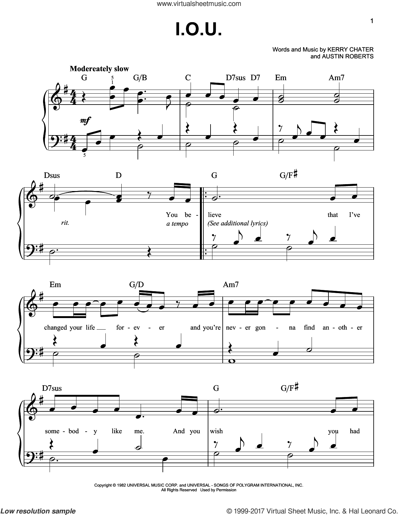 I.O.U. sheet music for piano solo by Lee Greenwood and Kerry Chater, easy piano. Score Image Preview.